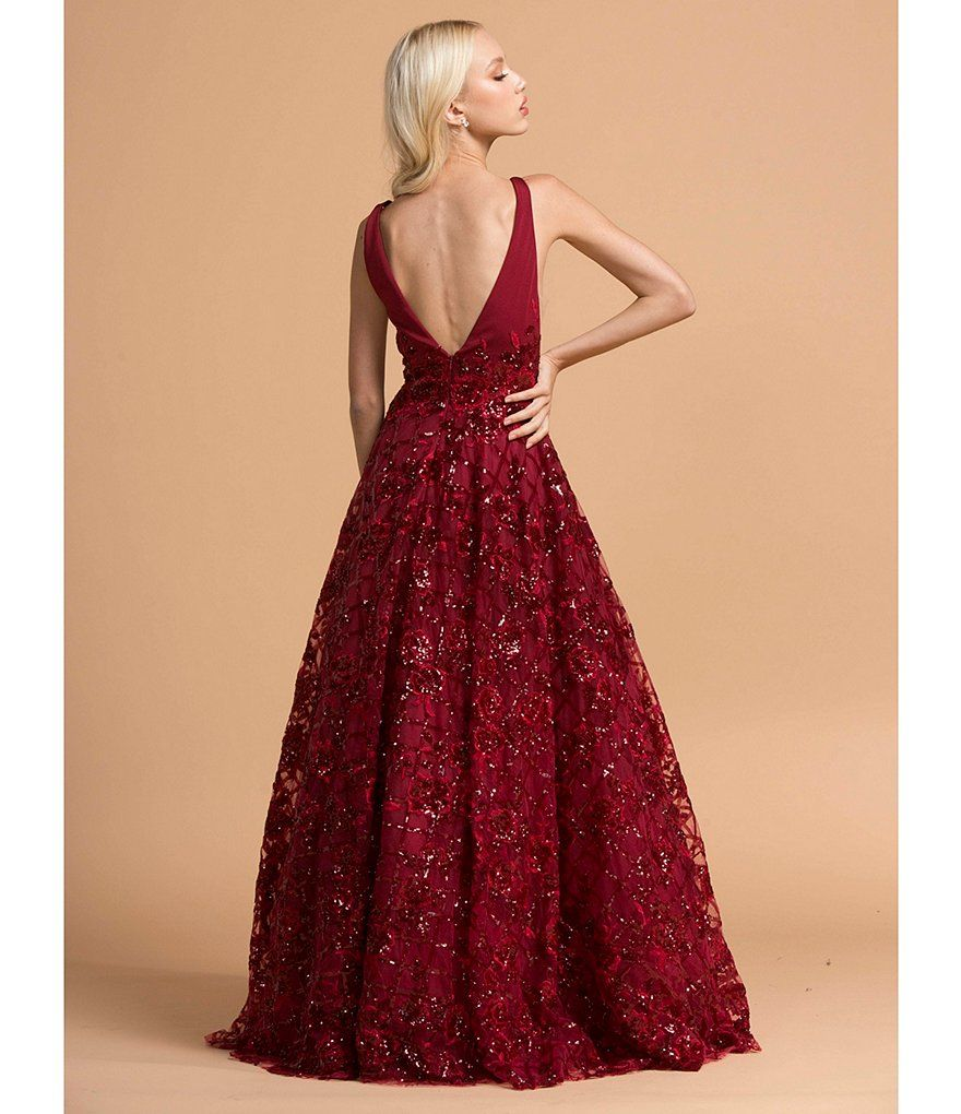 Elegant Embroidery Embellishment Ball Gown Traditional: Coya Collection Sequin Embellished Floral Embroidered