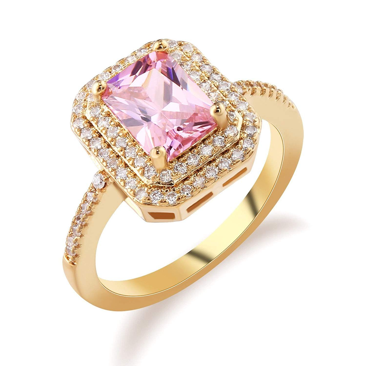 390416fce GULICX Women's Ring with Pink Stone Cubic Zirconia CZ Gold Tone Wedding  Party Gift ** Wonderful of your presence to drop by to visit our picture.