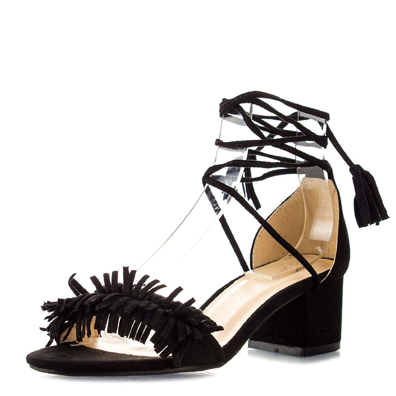 5002f58508 Nature Breeze Womens Open Toe Tassel Leg Wrap Lace Up Chunky Med Low Heel  Pump Sandals