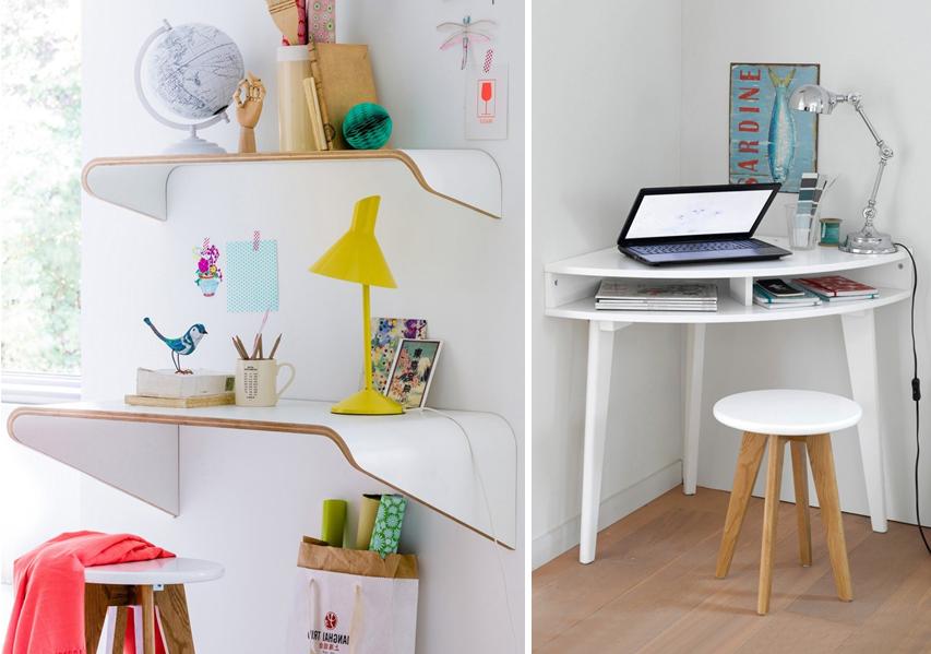 Petit bureau mural gain de place à fixer au mur blanc et bois et