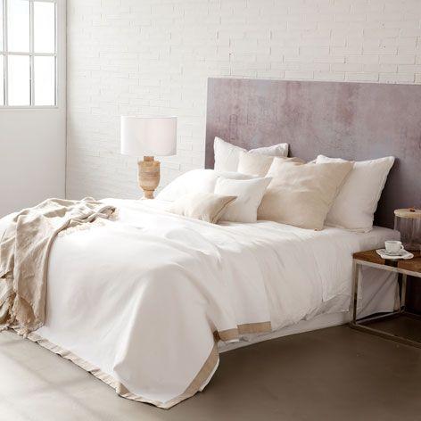 Colcha y funda de coj n borde lino colchas cama zara - Cojines grandes cama ...