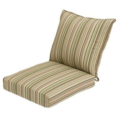 Hampton Bay Green Stripe Rapid Dry Deluxe 2 Piece Outdoor Deep