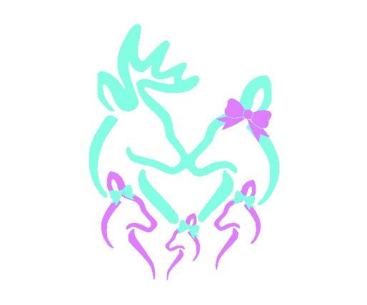 Custom Deer Head Silhouette Heart Monogram Family Vinyl Car Decal - Country girl custom vinyl decals for trucks