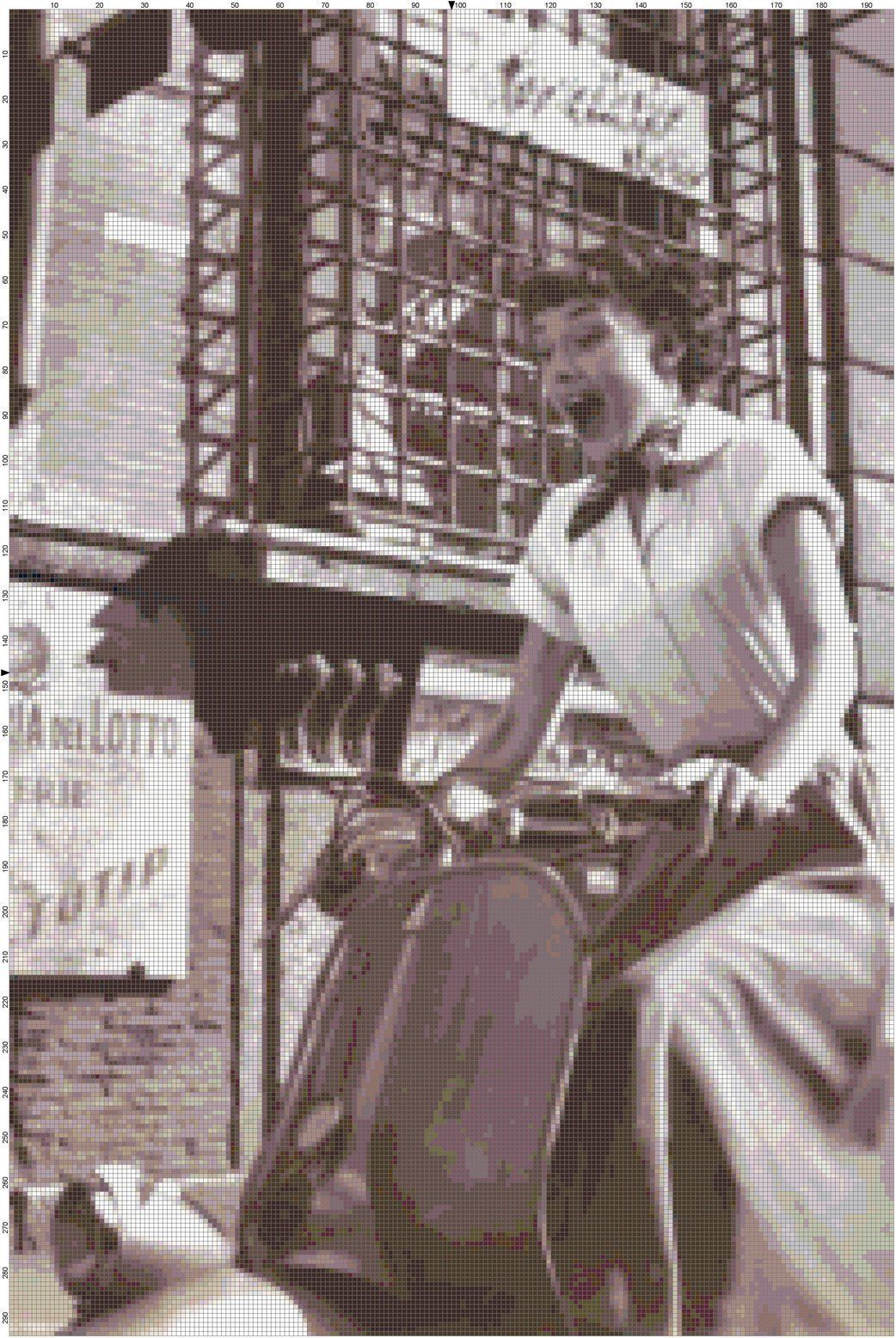 Details about Handmade Audrey Hepburn on Vespa Scooter DIGITAL Counted Cross-Stitch Pattern -   11 holiday Girl audrey hepburn ideas