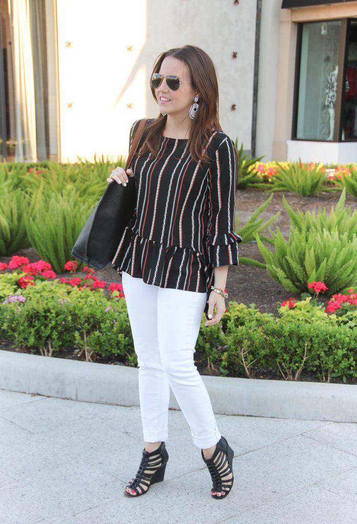 7f84c01844a7b2 Bell Sleeve Peplum Top + White Jeans