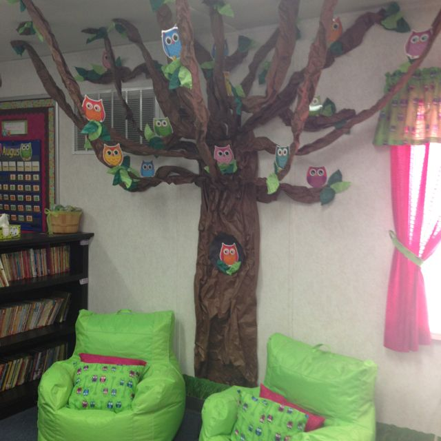 I made this owl tree for my third grade reading area the for Kids reading corner ideas