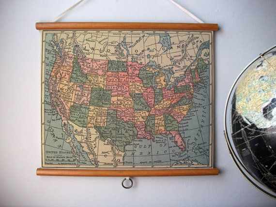 Vintage pull down school map wall hanging print by grittycitygoods vintage pull down school map wall hanging print on fabric with stained wood trim united states gumiabroncs Choice Image