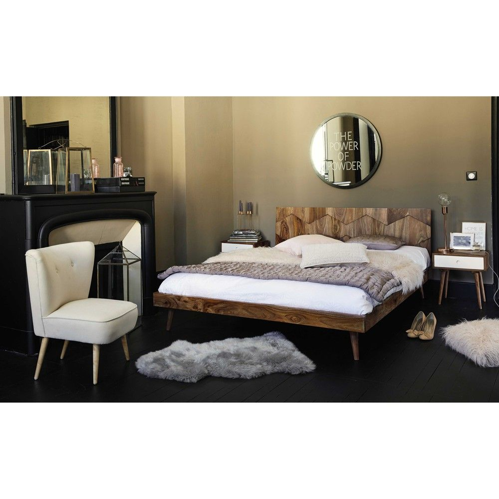 lit 160x200 en bois de sheesham massif lit 160x200 maison du monde et massif. Black Bedroom Furniture Sets. Home Design Ideas