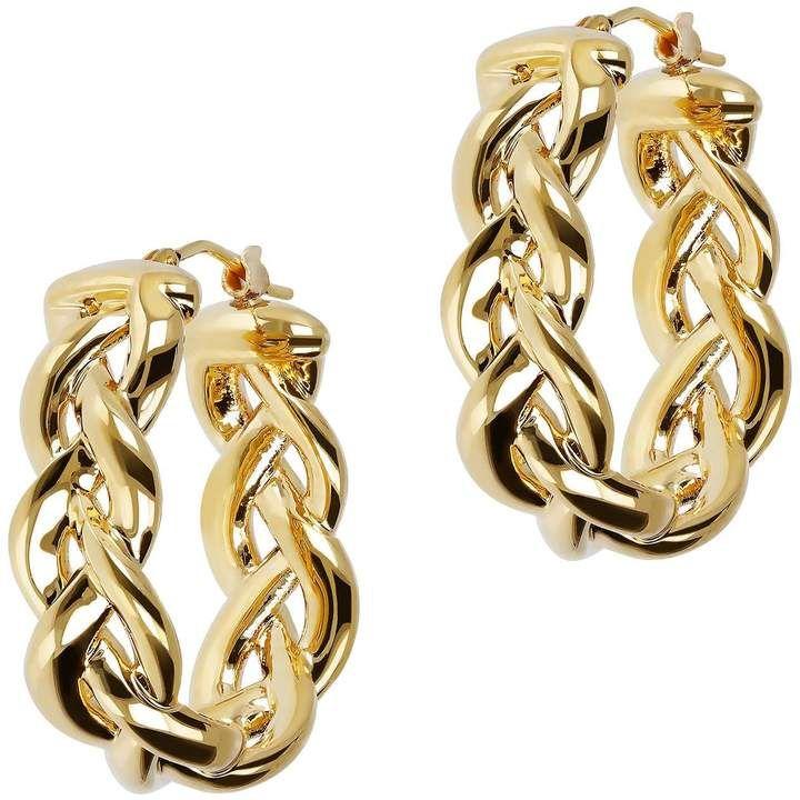 Braided Oval Hoop Earrings 14k Gold