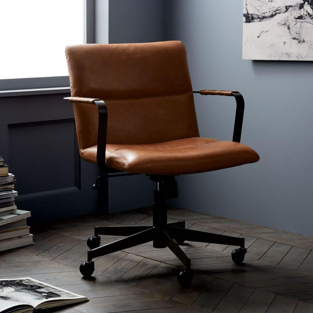 Cooper MidCentury Leather Swivel Office Chair Home
