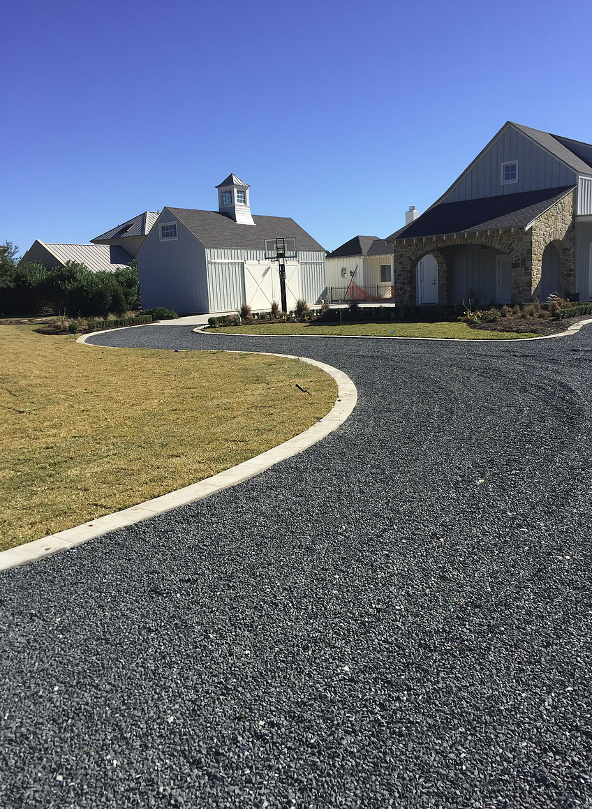 Black Gravel Driveway Garden Front Of House Driveway Ideas