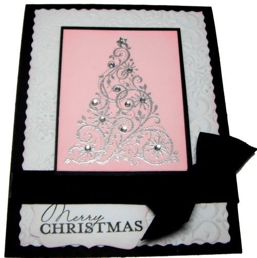 Stampinu0027 Up Pink and Black Snow Swirled Christmas Card Kit - 1 - christmas greetings sample