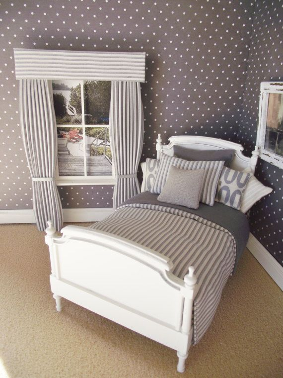 Double Bed grey stripe with spots Dolls House Model Furniture Bedroom Miniature