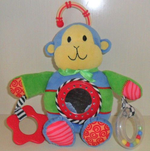Carters Monkey Rattle Plush Teether Mirror Rings Blue Yellow Green Toy 9""