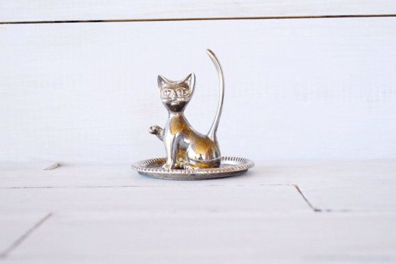 Vintage Silver Plated Cat Ring Holder by gaudyfairy on Etsy