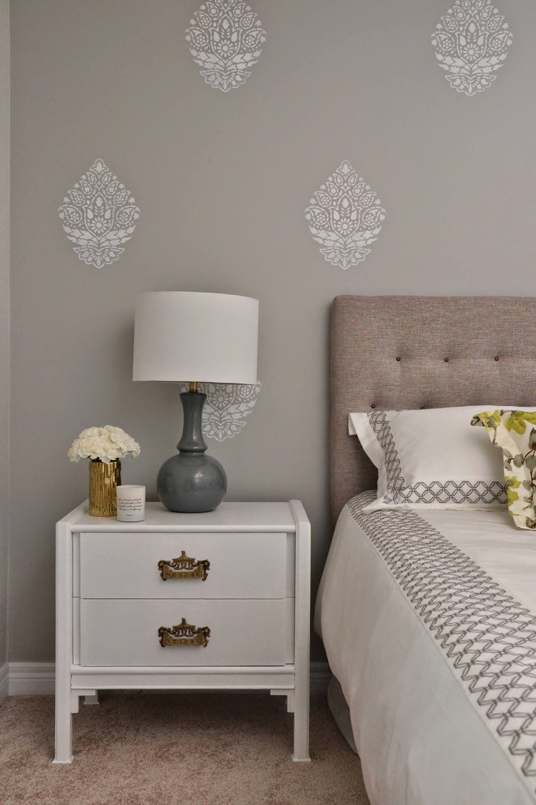 Indian Paisley Damask Stencil Bedroom Feature Walls