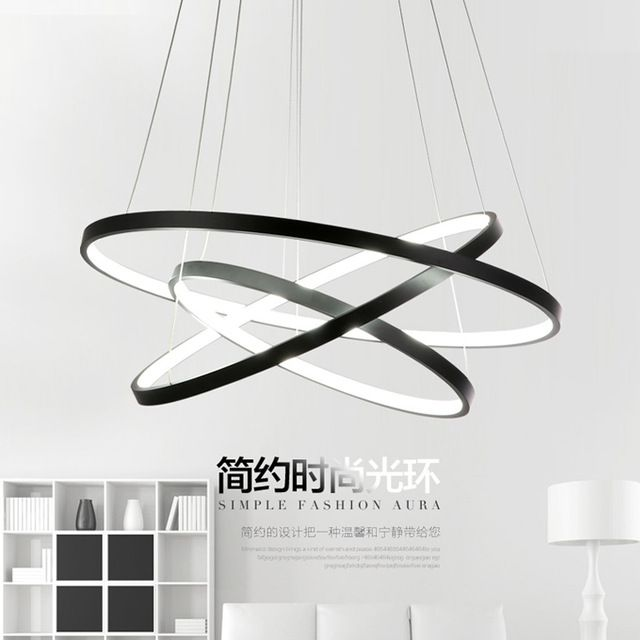 moderne led pendentif lumi res cercle suspension luminaire salle manger lampe 3 anneau. Black Bedroom Furniture Sets. Home Design Ideas