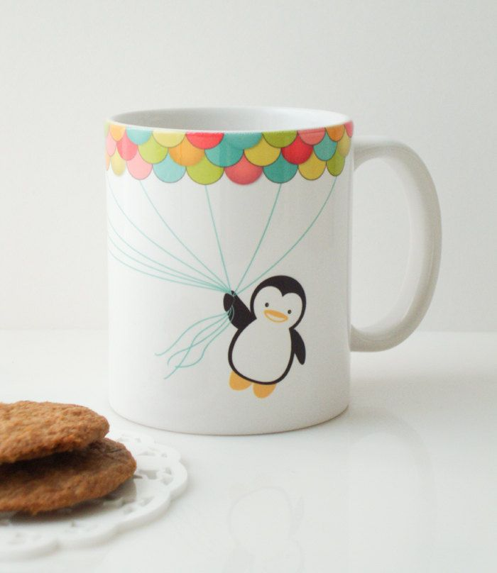 fly high penguin mug cup cute gifts. Black Bedroom Furniture Sets. Home Design Ideas