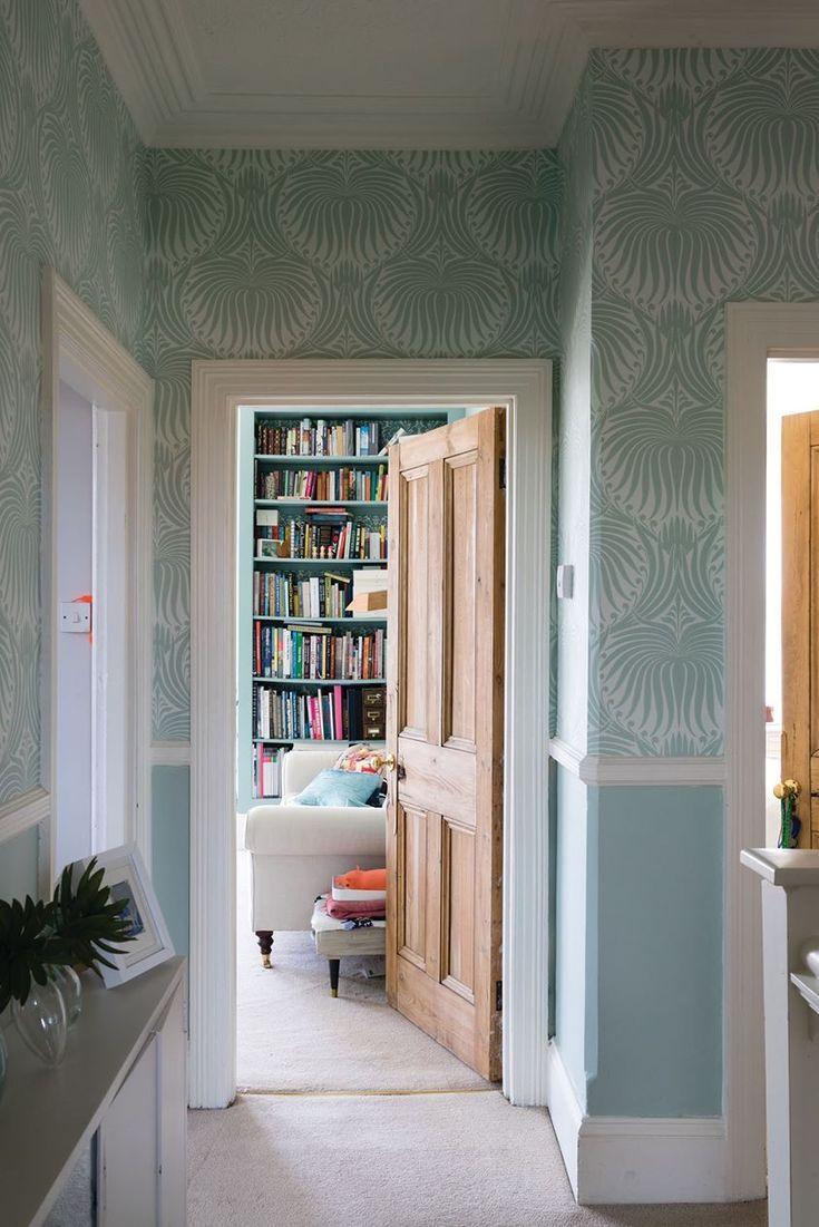 Hallway wallpaper dado rail  Hallway with FuB Lotus wallpaper above the dado rail Below the dado