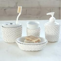 cayman white rattanceramic insert bath accessory 4 piece set - White Bathroom Accessories Ceramic