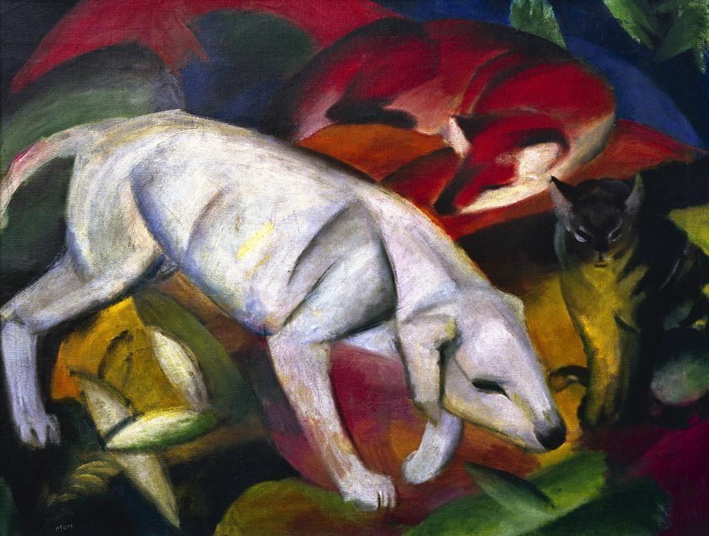 Franz Marc Paintings Franz Marc Paintings Franz Marc Hund Fuchs Und Katze Painting Tiergemalde Tierkunst Hundekunst