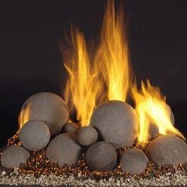 48 Fireballs Mixed Set Fire Rocks Fire Glass Gas Fireplace Logs