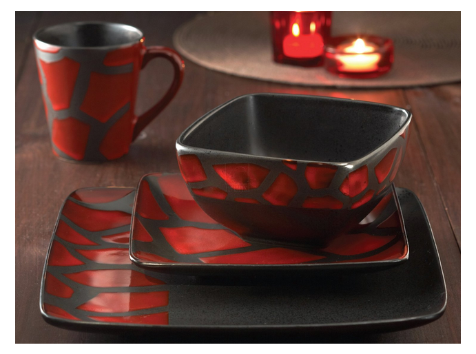Square Dinnerware Set 16 Piece Earthenware Red Black Dinner Dishes