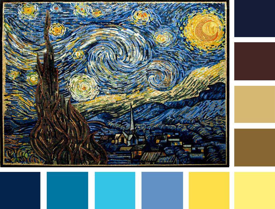 Mosaic Wall Art New Year Color Palette Mozaico Blog Starry Night Van Gogh Mosaic Wall Art Diy Canvas Art