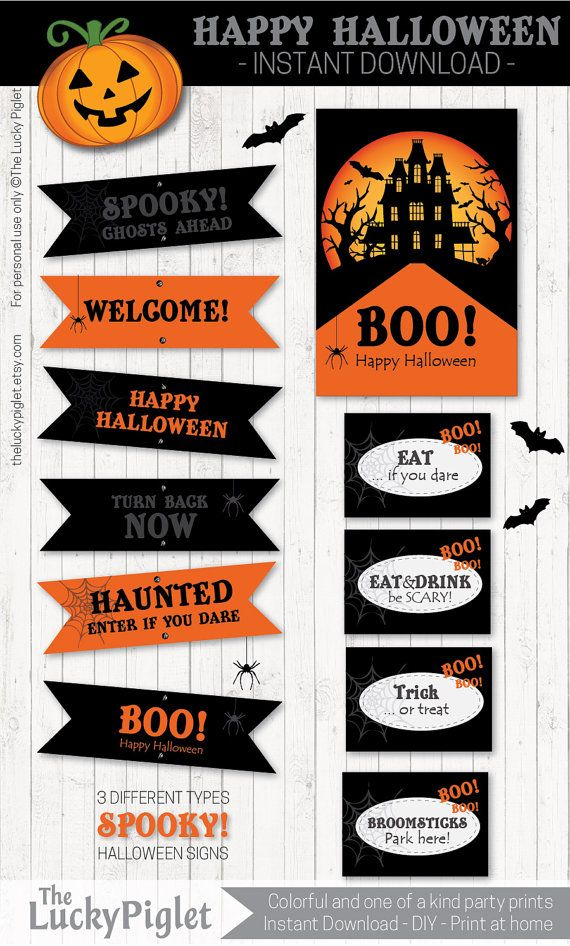 Cute and scary Halloween Party Printables Halloween signs and much - print halloween decorations