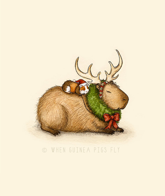 Capy Holidays - Capybara and guinea pig Reindeer Ride | Art ...