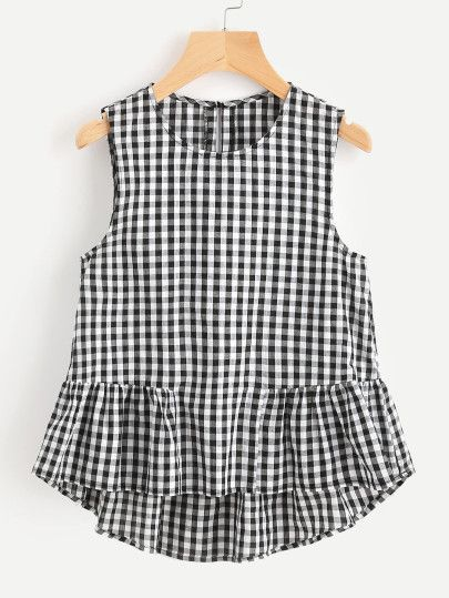 8e78848648 Shop Buttoned Keyhole Tiered Hem Gingham Shell Top online. SheIn offers  Buttoned Keyhole Tiered Hem Gingham Shell Top   more to fit your  fashionable needs.