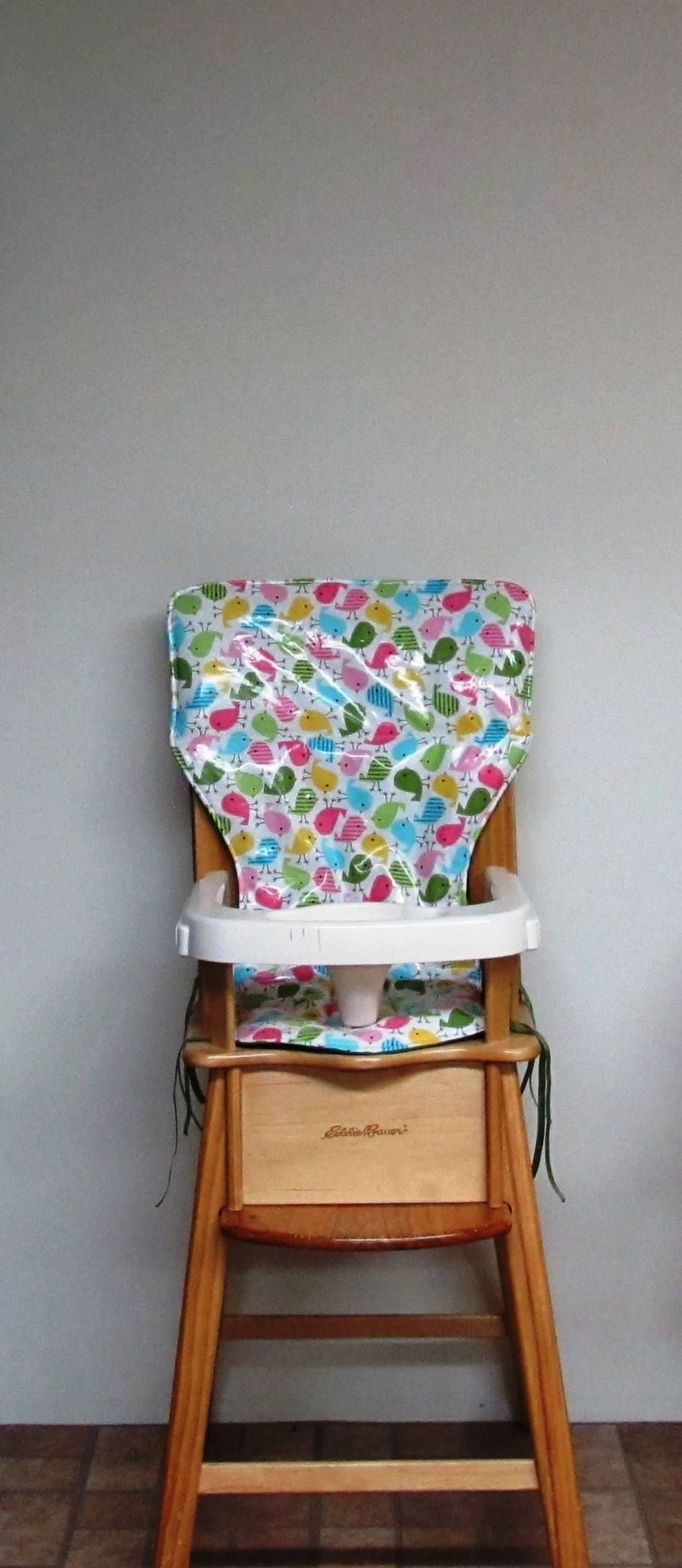 baby chair cover LAMINATED COTTON wood high chair pad baby