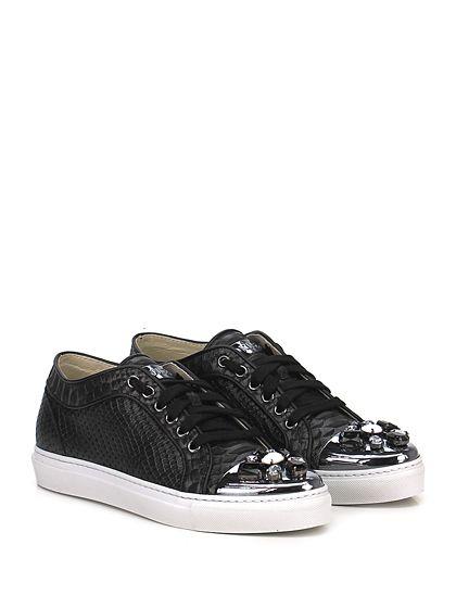 STOKTON - Sneakers - Donna - Sneaker in pelle stampa rettile effetto  laminato con strass su puntale e suola in gomma. Tacco 25. - NEROPIOMBO 5918fc7a9b5