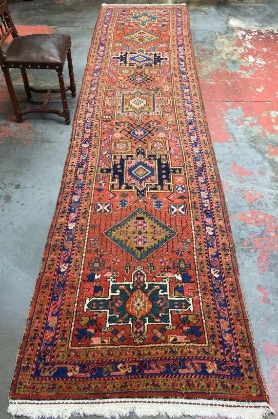 Antique Persian Heriz Runner Rug 3 X14 Kitchen Rug Hall Rug