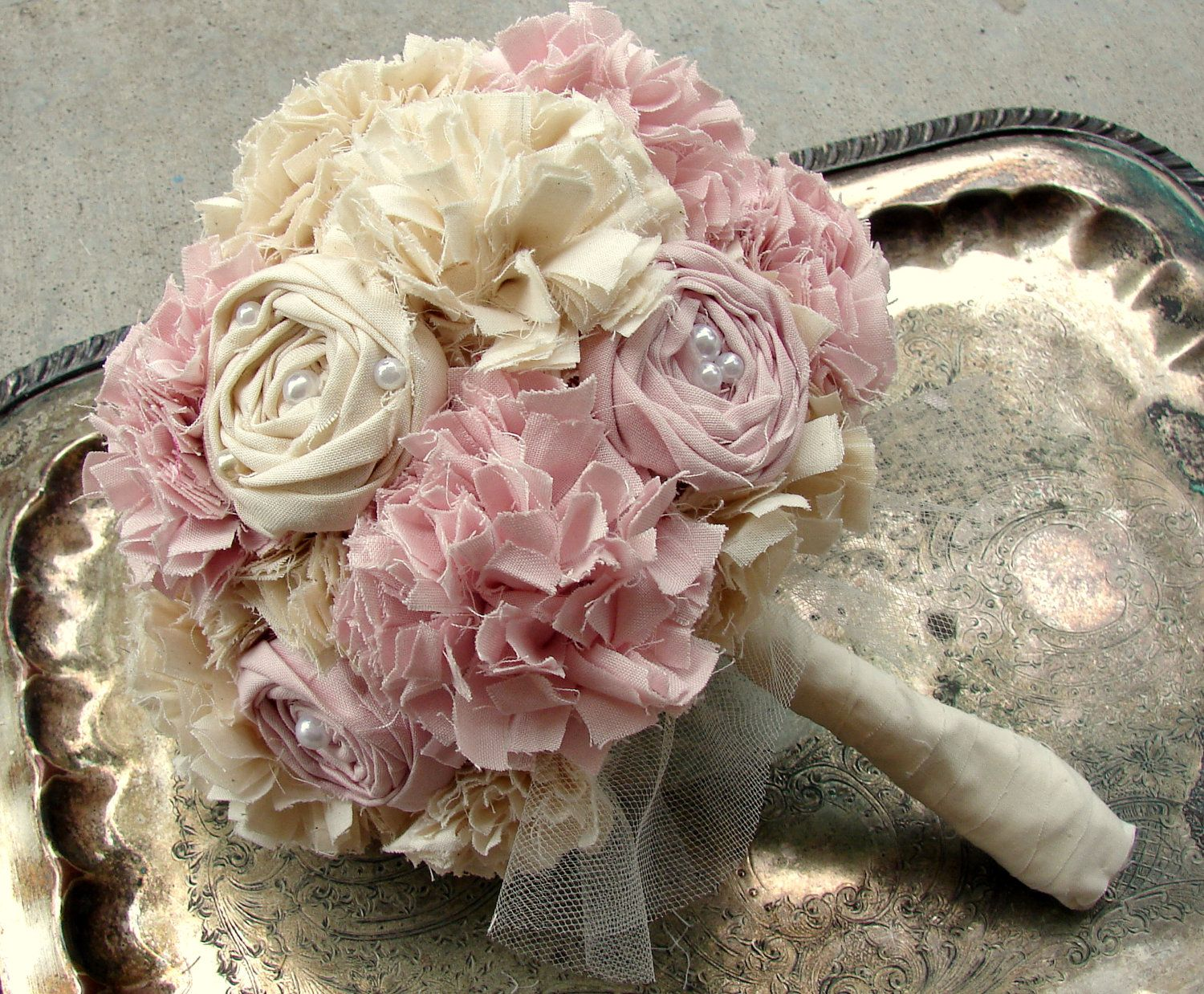 Custom Fabric Flower Bouquet Weddings Pink Rose Fabric Bridal
