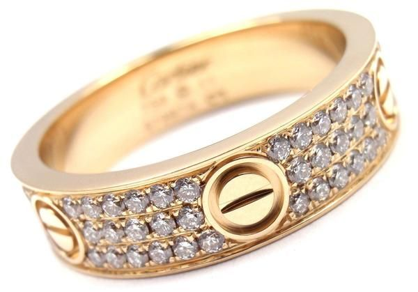 30e5f12f7 Authentic! Cartier Love 18k Yellow Gold Diamond Paved Band Ring Size 63 US  10.25