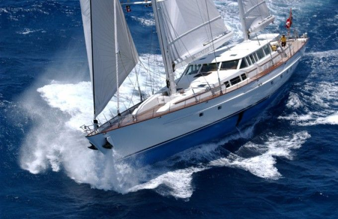 Sailing yacht Timoneer, 147ft yacht built by Vitters Shipyard.  Max 8 passengers + 7 crews.