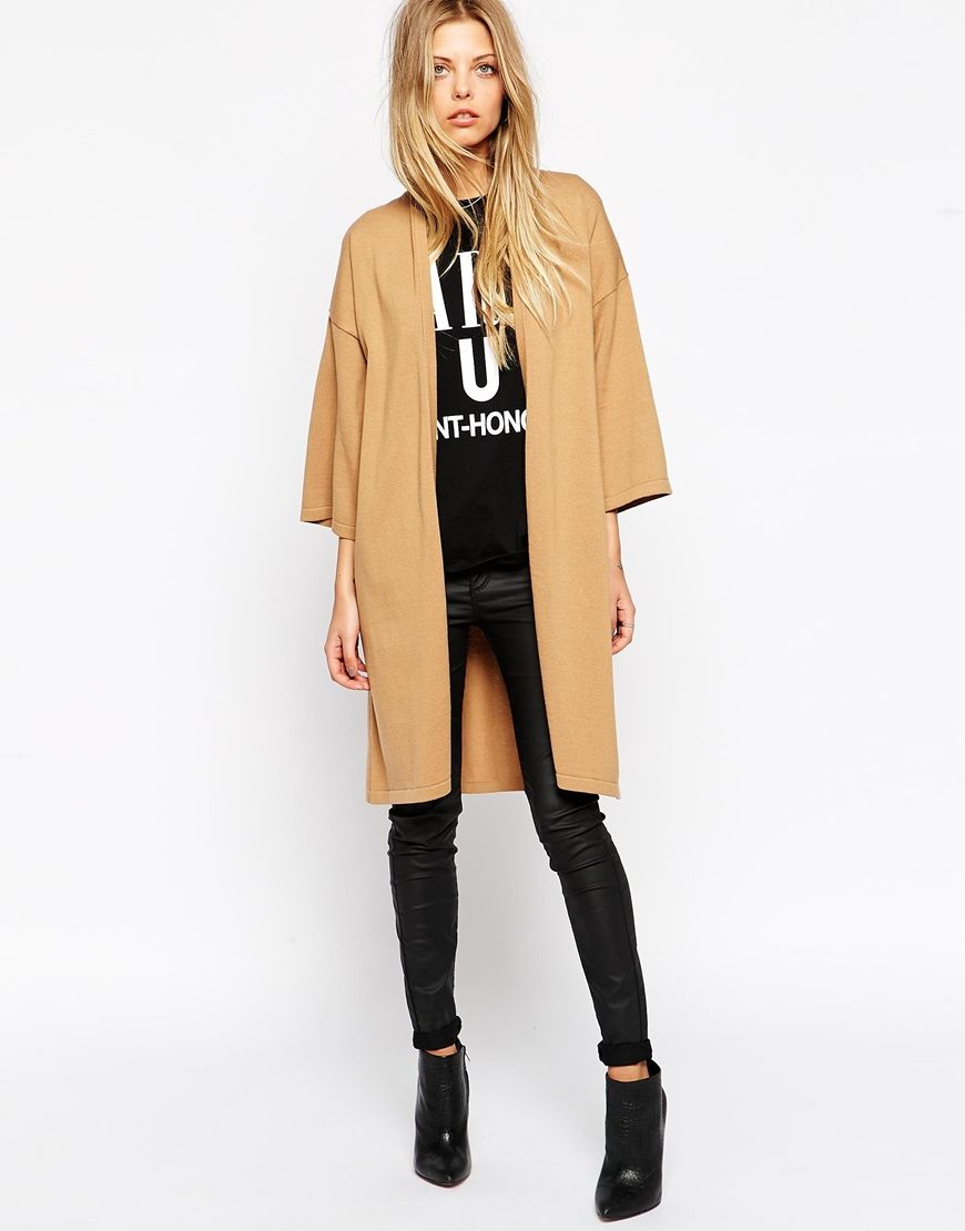 ASOS Longline Wrap Cardigan With Belt And Kimono Sleeve | Wadrobe ...