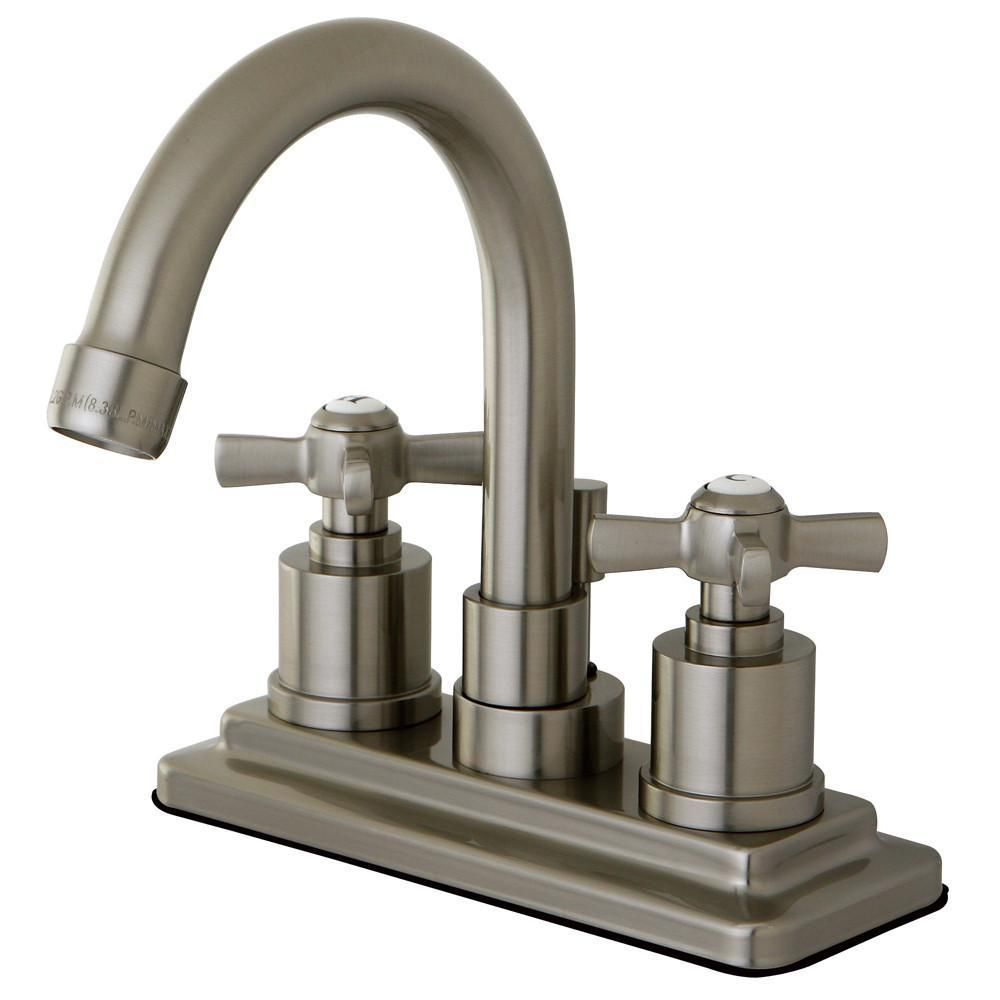 Centerset Br Lavatory Faucet In Satin Nickel Finish As Shown