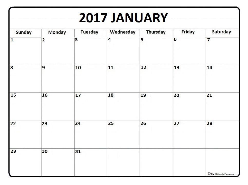 January Calendar  Printable And Free Blank Calendar