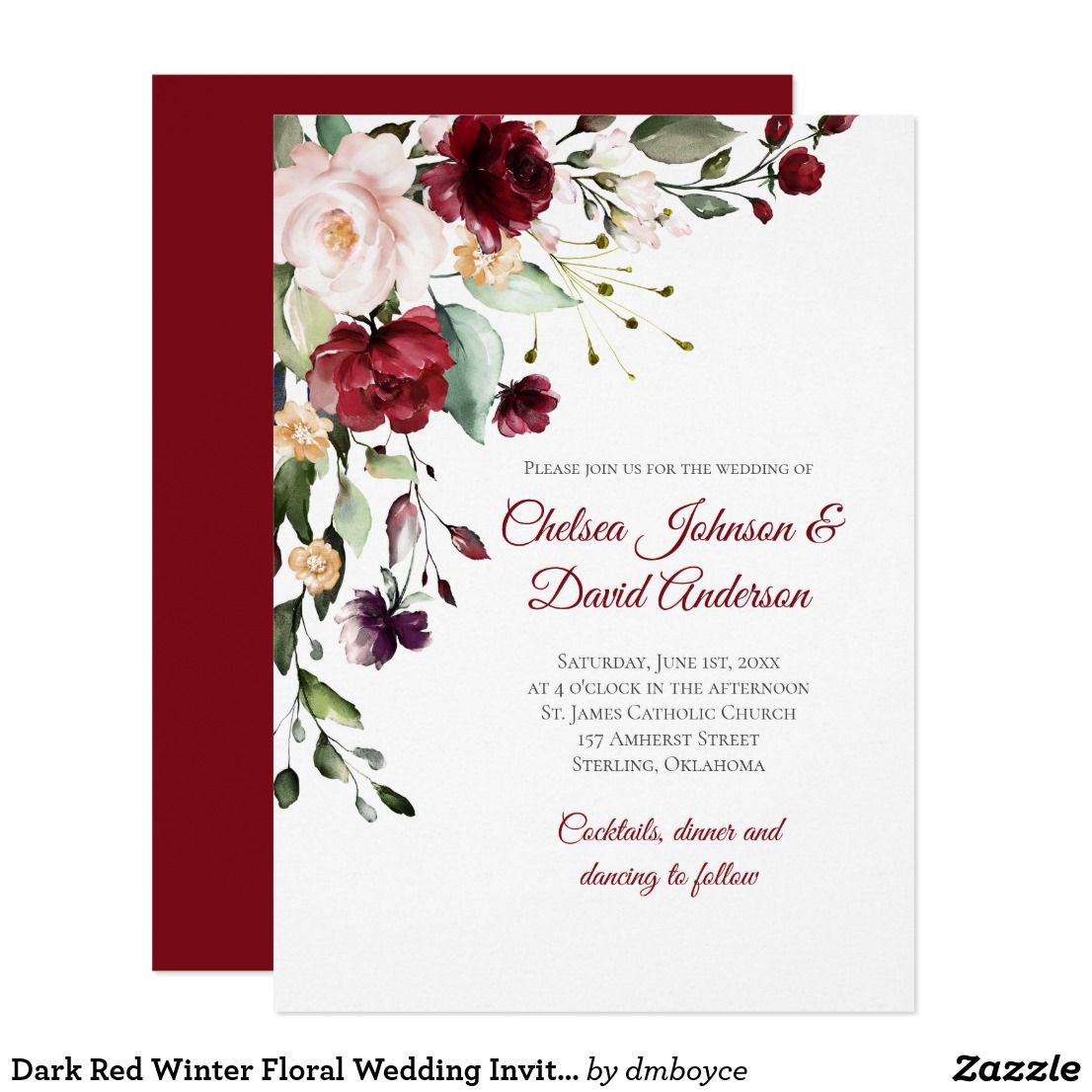 Dark Red Winter Floral Wedding Invitation Zazzle Com Floral