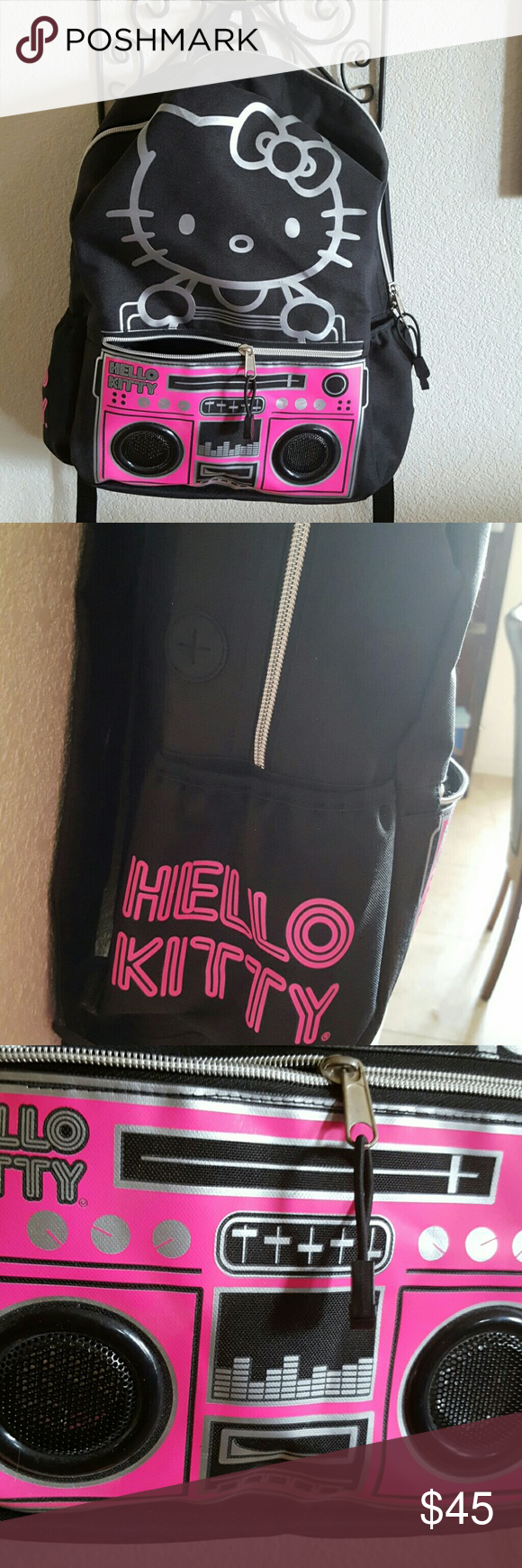 Hello kitty full size backpack with speakers! Brand new without tags. Has a battery pack inside. Never used or tried out.  I bought this brand-new for my daughter but she decided she didnt really like hello kitty anymore. Sanrio  Bags Backpacks