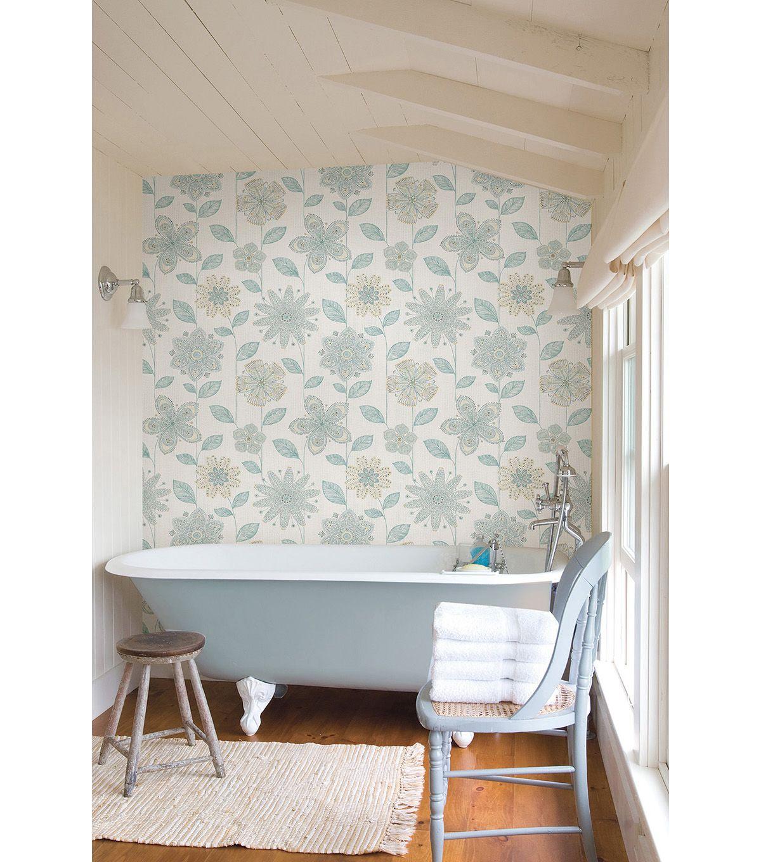 Wallpops Nuwallpaper Batik Floral Peel And Stick Wallpaper Joann Jo Ann Peel And Stick Wallpaper Nuwallpaper Home Deco