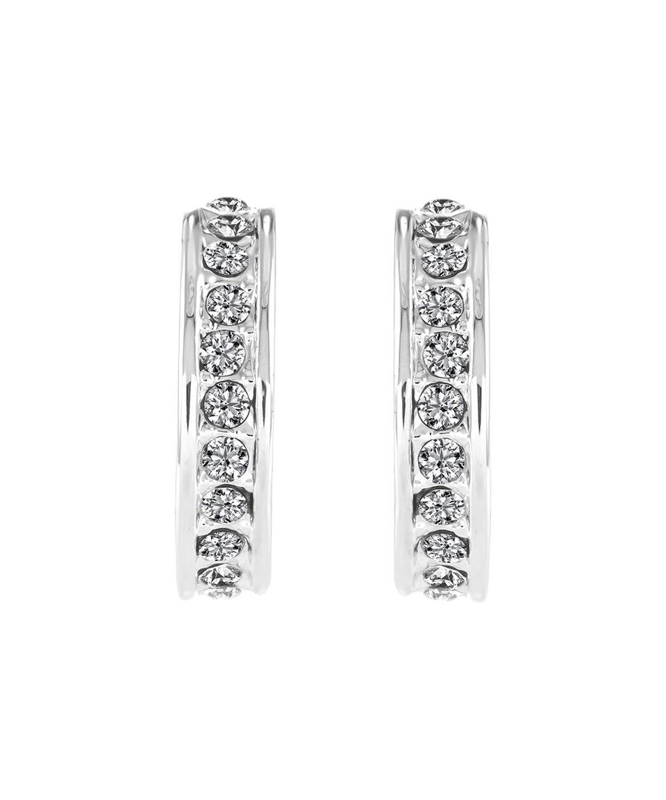 0ecec5a27366 Take a look at this Silvertone Domino Hoop Earrings With Swarovski® Crystals  today!
