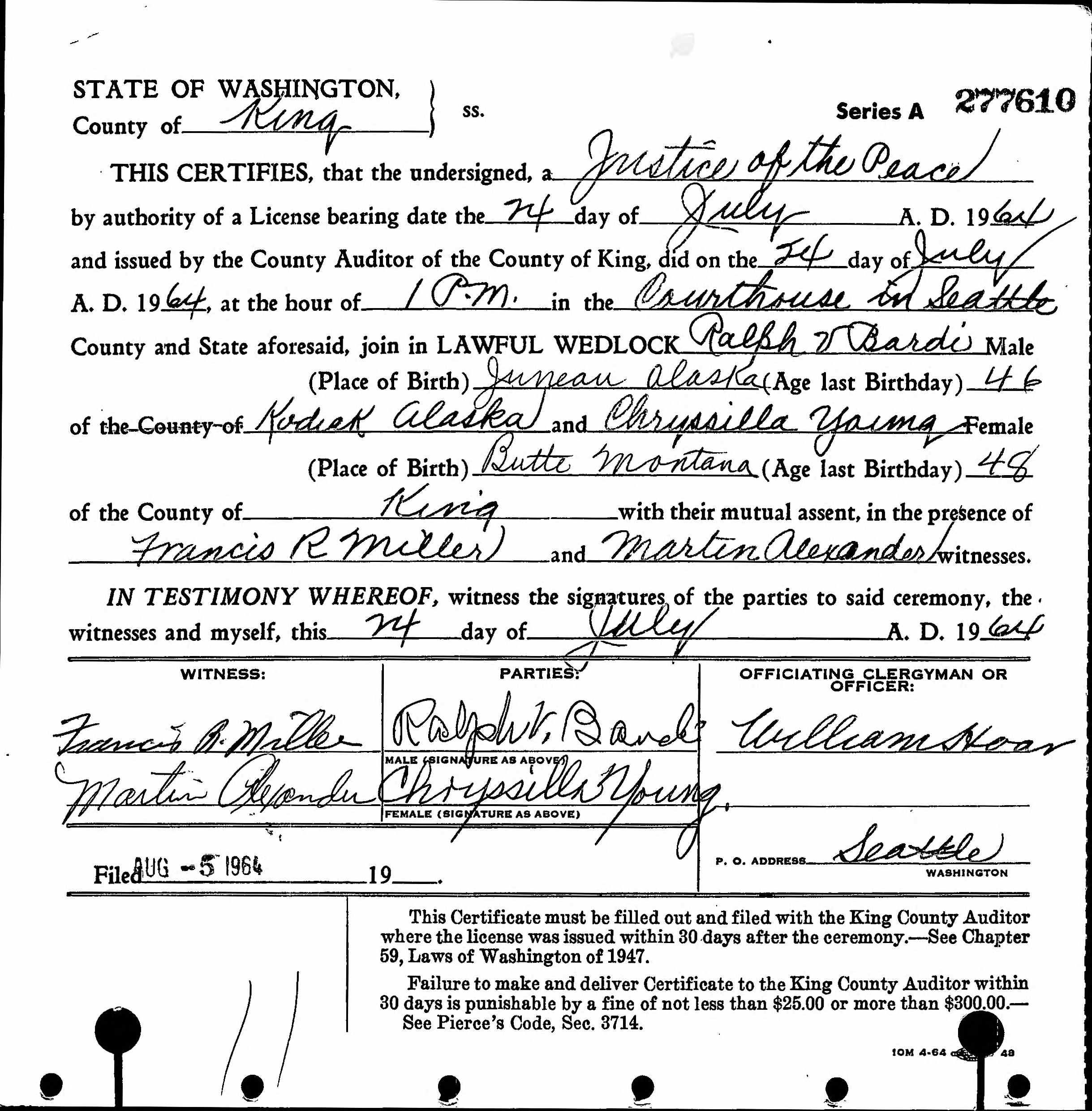 Ralph V Bardi Discovered In Washington Marriage Records 1854 2013