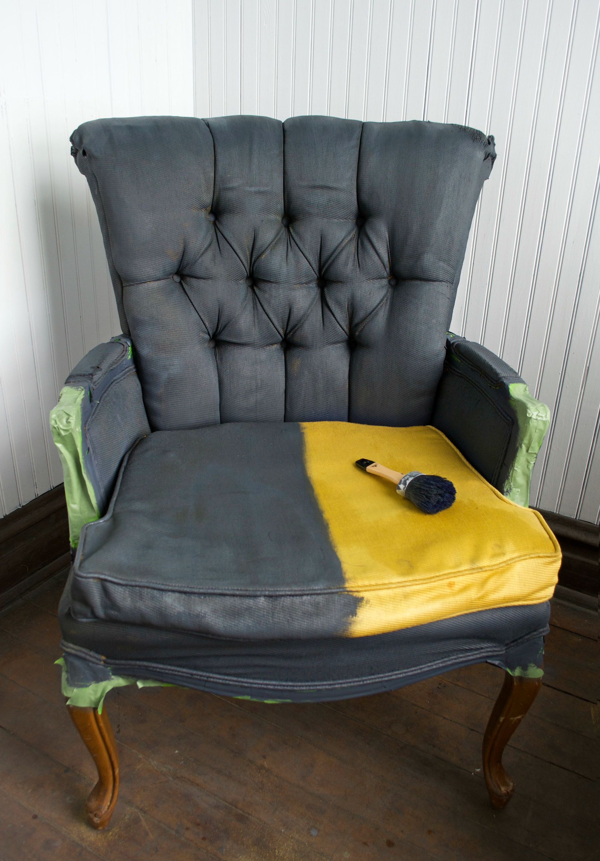 Diy Fabric Chair Makeover With Paint Fabric Chairs Makeover Painting Fabric Chairs Painting Fabric Furniture