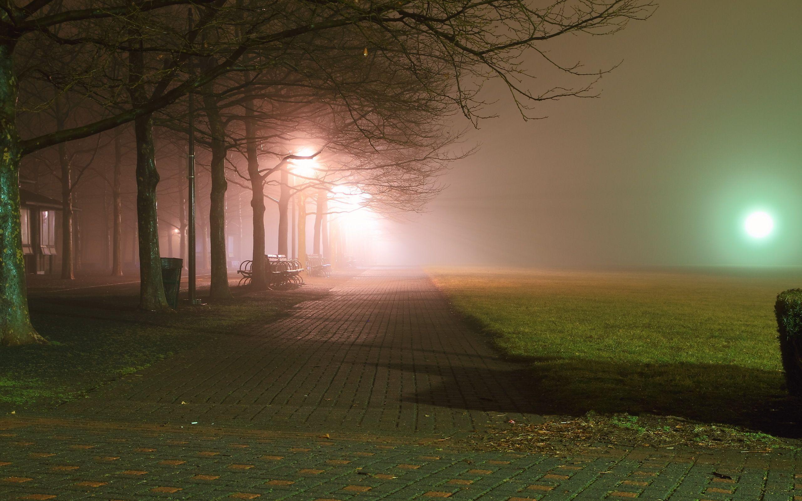 Park Bench At Night City Aeyaey Park Night Bench Fog Sidewalk