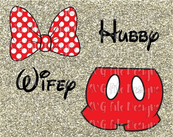 Minnie And Mickey Mouse Hubby Wifey Set With Bow And Pants