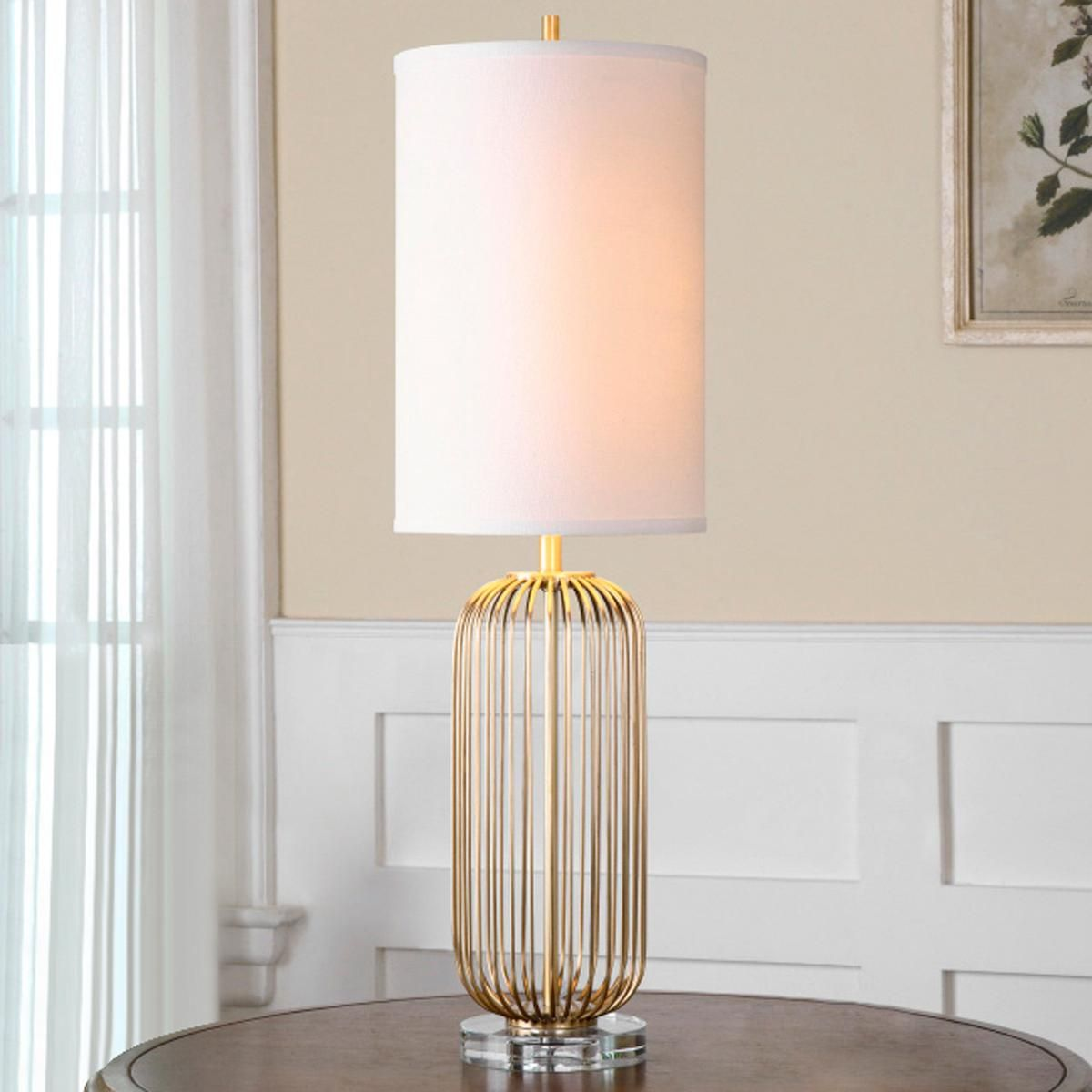 Metal Golden Cage Narrow Table Lamp Hand Forged Metal