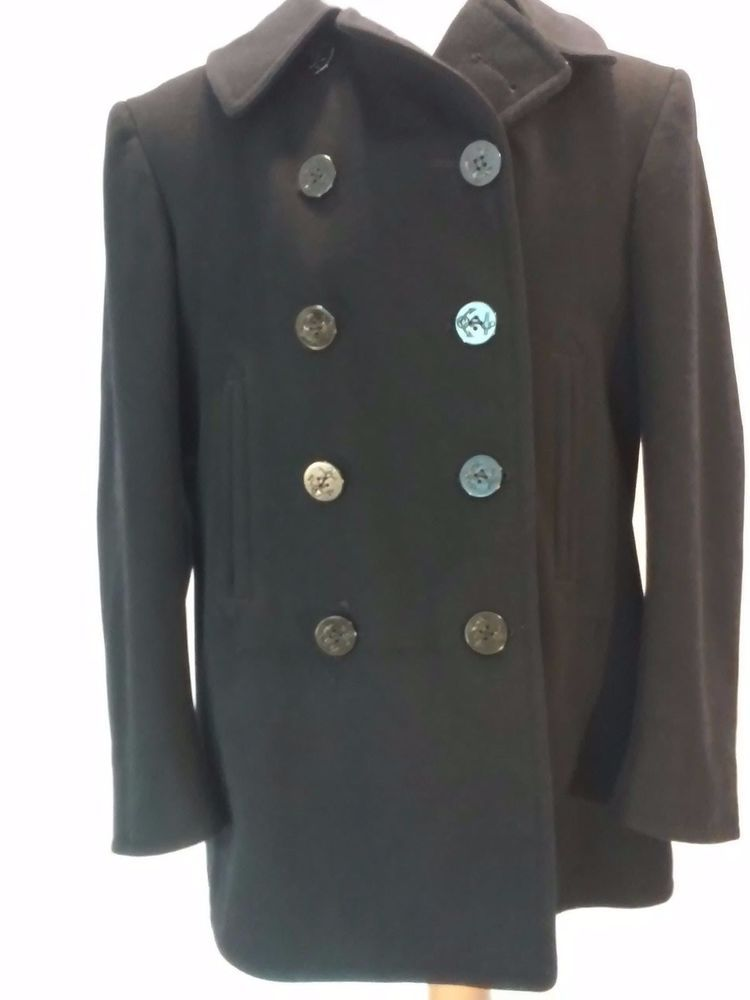 Vtg WWII US NAVY PEA COAT Naval Clothing Co Size 42 Wool Military ...